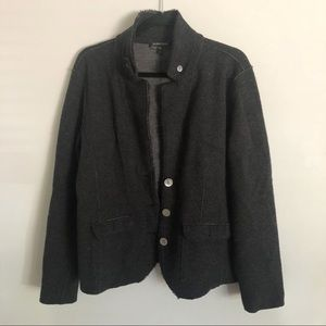 Eileen Fisher wool blend gray button down jacket